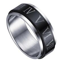 Punk Mens Band Black Silvery Stainless Steel Roman Numerals Ring Size 10-12