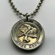 Hong Kong 10 dollars coin pendant Bauhinia flower fragrant orchid Chinese 000466