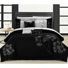 Chic Home Shea 12-Piece Black and White Embroidered Floral Comforter Set Bed in