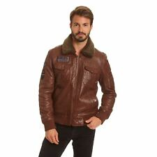 Excelled Men's Lambskin A-2 Flight Jacket with Faux Curly Sherpa Collar