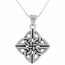 Sterling Silver Four Corner Celtic Trinity Knot Pendant on Box Chain Necklace