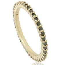 1/2ct Raw Treated Black Diamond Prong Set Eternity Ring 14K Yellow Gold
