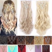 Long Real Curly Full Head Clip in Hair Extensions Black Brown as human hair l89