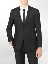 calvin klein mens body slim fit black wool suit jacket