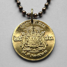 Thailand 25 satang coin pendant Thai necklace Siam arms Airavata temple n001496