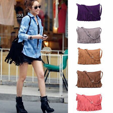 Fashion Tassel Celebrity Suede Fringe Shoulder Messenger Handbag Cross Body Bag