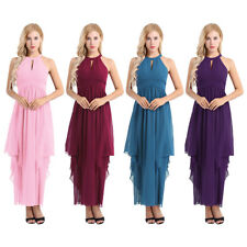 Women Ladies Chiffon Halter Bridesmaid Dress Long Maxi Evening Prom Gown Party