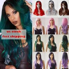 Women Curly Wave Full Wigs Quality Synthetic Hair Costume Full Head Wigs Bangs