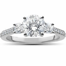 2 ct Round Diamond 3-Stone Lab Grown Eco Friendly Engagement Ring White Gold
