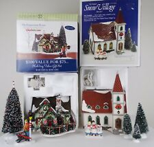Dept 56 Snow Village THE PEPPERMINT HOUSE or SHADY OAK CHURCH w/ Accessories