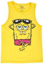 Sponge Bob Square Pants Tank Top Boys Shirt Relax Yellow Kids Authentic S-XL