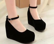 Mary Jane Womens High Wedge Heel Platform Faux Suede Lolita Buckle Pumps Shoes