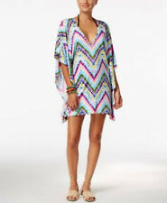 Bar III Dana Tie Dye Caftan Swim Cover Up Dress White Multi Medium Large NEW S6