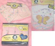 8 PC Gerber Blue/Pink Baby Boy/Girl Infant Hats/Bibs /Washcloth Butterfly Frog