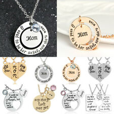 Engraved Mom Dad Daughter Sister Family Gift Letter Puzzle Pendant Necklace Set