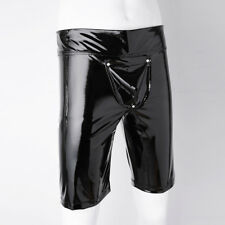 Men's Shiny Leather Short Pants Buckled Pouch Tight Leg Boxer Trunks Underwear