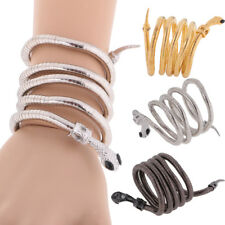 Women Vintage Retro Punk Metal Curved Jewelry Snake Cuff Bangle Bracelet