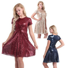 Short Women Sequin Party Prom Ball Cocktail Gown Bridesmaid Formal Pageant Dress