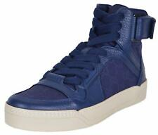NEW Gucci Men's Blue Nylon GG Guccissima High Top Sneakers Trainers Shoes