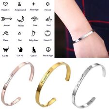 Personalized Custom Engraved Stainless Steel Bracelet Bangle Cuff Lover Gift DIY