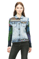 Desigual Andrea Embroidered Denim Jacket Knit Sleeves EU 36-48 UK 8-20 RRP?109