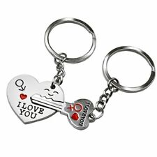 Stainless Steel Key Couple Keyring Key Chain Ring Valentine's Day Gift Jewelry