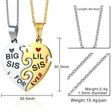 Stainless Steel Couple Heart Key Crystal Pendant Necklace Valentine's Day Gift