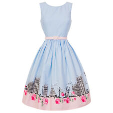 Hell Bunny Paname Paris Eiffel Tower Baby Blue 1950s Retro Vintage Flared Dress
