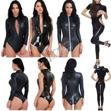Sexy Women's Wetlook Lingerie Patent Leather One-piece Leotard Bodysuit Jumpsuit