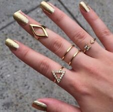 5pcs Rings Set Mid Midi Above Knuckle Ring Band Gold Silver Tip Finger Stacking