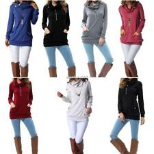 Women Long Sleeve Button Cowl Neck Casual Solid Sweatershirt Tops With N4U8