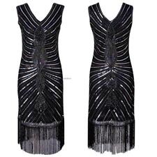 Women Vintage Style Sequin Fringed Evening Party Club Pencil Dress EA