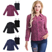 Sexy Women OL Long Sleeve Button Lace Shirt Collar Blouse See Through Tops+Vest