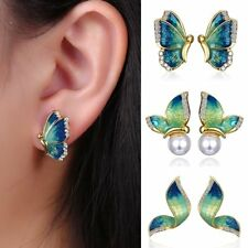 Charm Blue Crystal Rhinestone Enamel Butterfly Stud Earrings Women Jewelry Gift