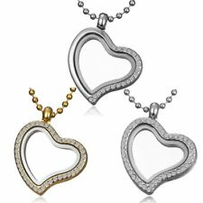 Women Living Memory Floating Charms Crystal Glass Heart Locket Necklace Jewelry
