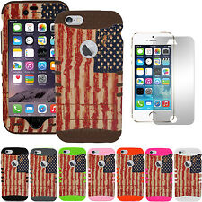 For iPhone 8 Plus 7 Plus Full Body Case American US Flag with Tempered Glass