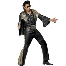 Mens 70s 1970s Licensed Elvis Presley Fancy Dress Costume Black New by Smiffys