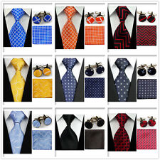 Men Blue Orange Red Black Check Necktie Ties Hanky Cufflinks Handkerchief Sets