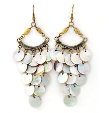 Ocean Beach Iridescent Natural Sea Shell Mother of Pearl Layered Disc Earrings
