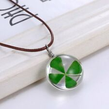 Four Leaf Clover Natural Real Dried Flower Glass Pendant Necklace Women Jewelry