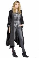 NWT MISS ME VINTAGE Black Grey Open Front Hooded Long Sweater Sz S M 280600TF