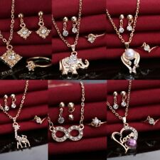 Crystal Pearl Heart Elephant Necklace Earrings Ring Wedding Bridal Jewelry Set