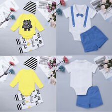 Toddler Baby Girls Boys Gentleman Outfit Clothes Romper Bodysuit Top+Pants+Hat
