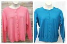 Charter Club Cardigan Sweater Plus 0X  Button Front Long Sleeve Blue Pink P1