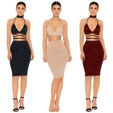 Women Halter Sleeveless Bandage Backless High Waist Pencil Skirt Two-piece EA
