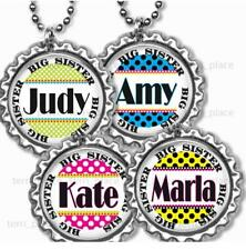 Custom Big Sister Girls Bottle Cap Necklace w/Chain Handcrafted Personalized
