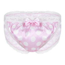 pink Men's Polka Dot Lace Bikini Briefs Sissy Pouch Panties Thongs Valentines