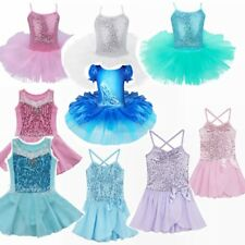 Girls Short Sleeve Cotton Ballet Costume Tutu Kids Dance Leotard Skirt Dress