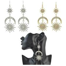 Women's Crystal Rhinestone Sun Star Moon Stud Dangle Drop Earrings Jewelry