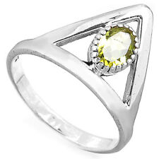 Peridot Triangle Ring Solid Sterling Silver 925 Gemstone Birthstone Size 6 8